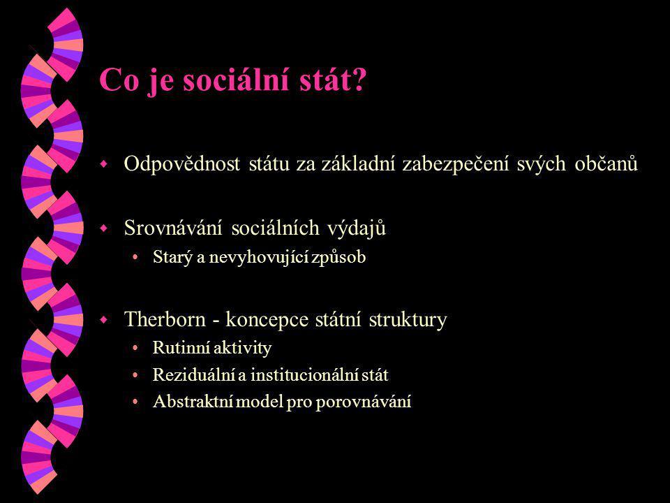 Co je sociální stát Odpovědnost státu za základní zabezpečení svých občanů. Srovnávání sociálních výdajů.