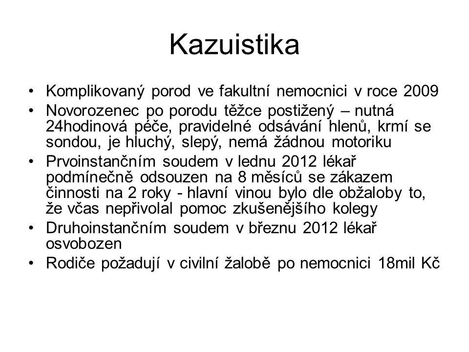 Kazuistika Komplikovaný porod ve fakultní nemocnici v roce 2009