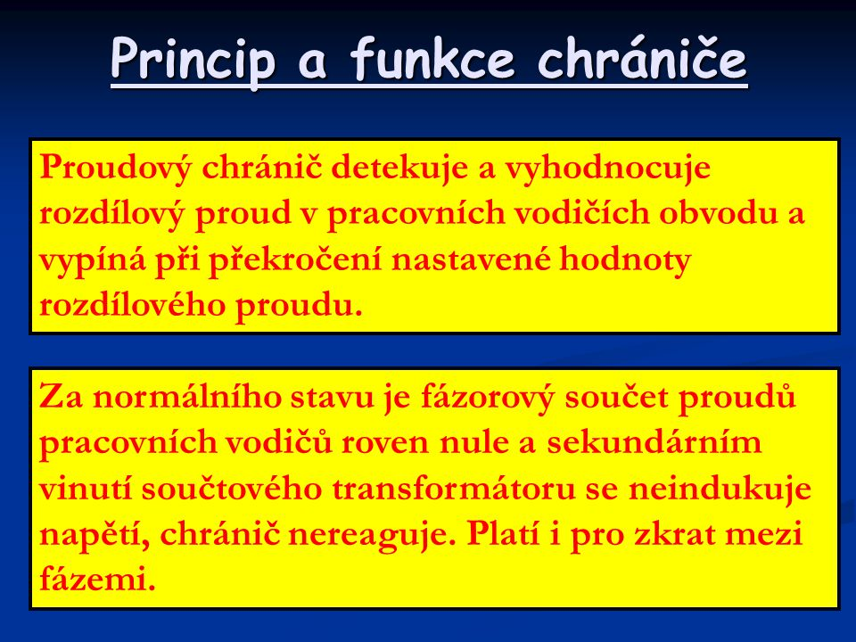 Princip a funkce chrániče
