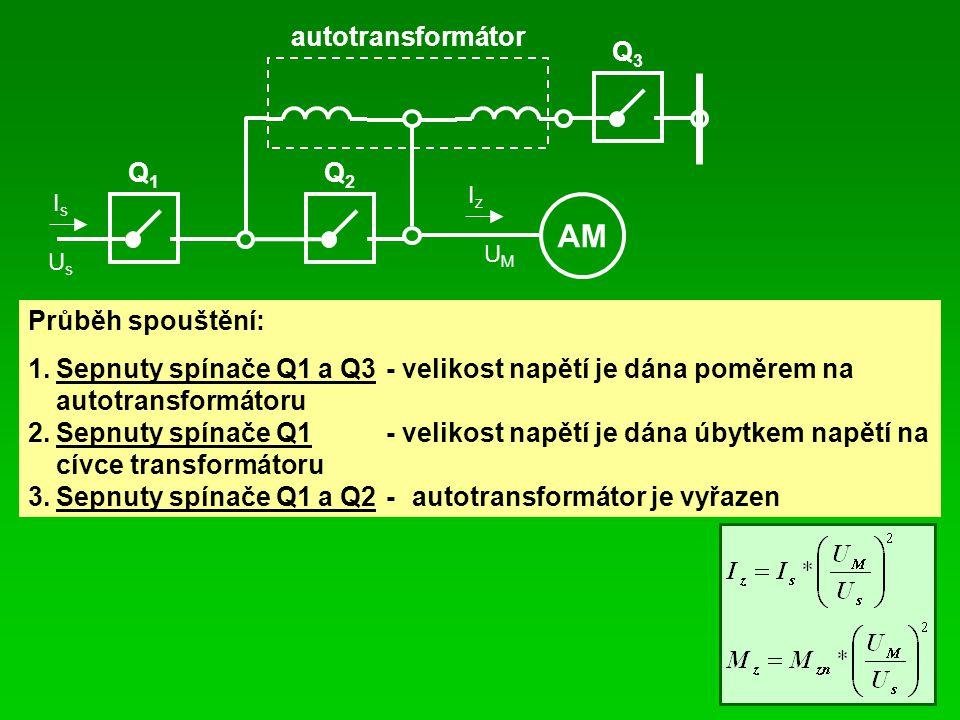 AM autotransformátor Q1 Q2 Q3 Průběh spouštění: