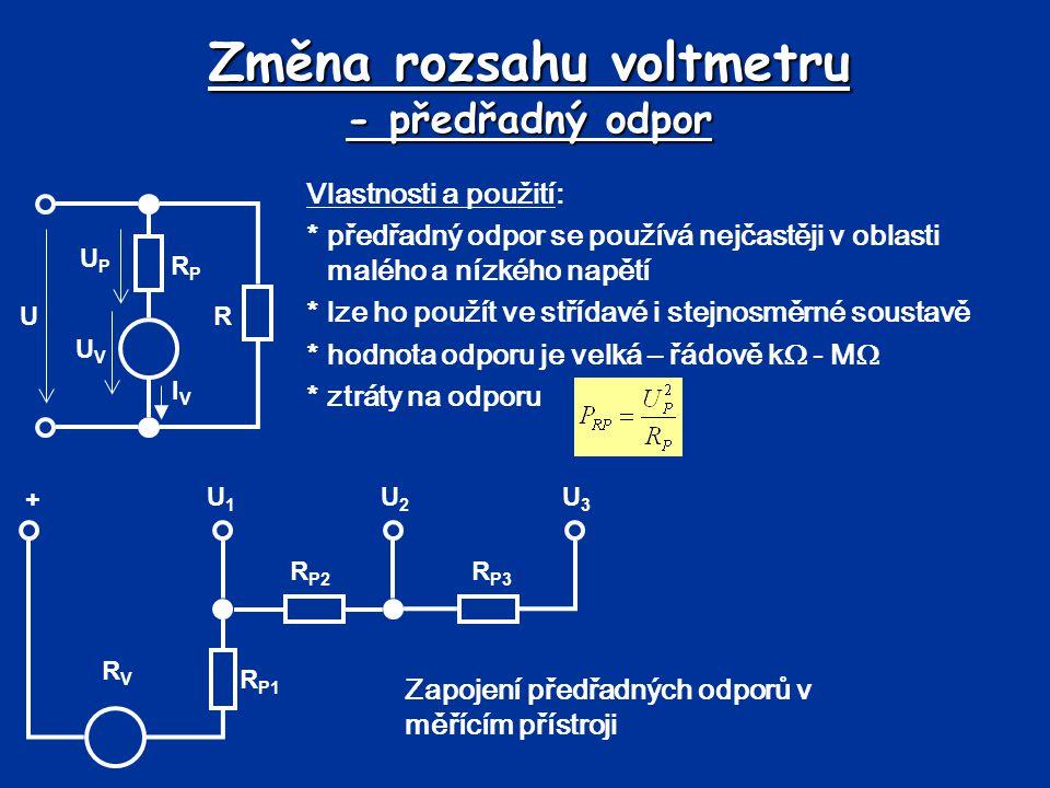 Změna rozsahu voltmetru - předřadný odpor
