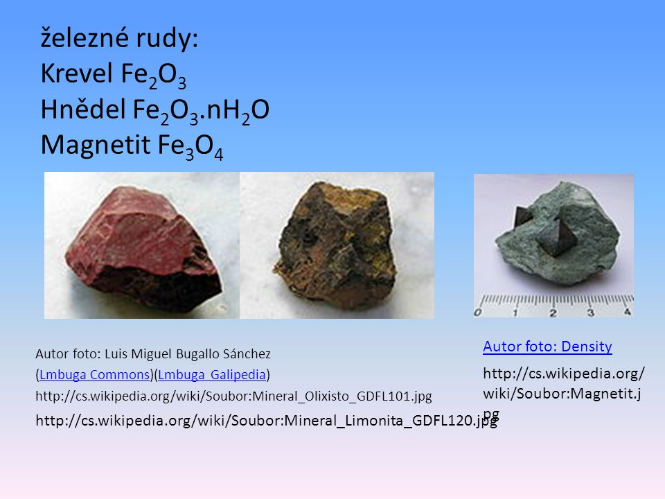 železné rudy: Krevel Fe2O3 Hnědel Fe2O3.nH2O Magnetit Fe3O4
