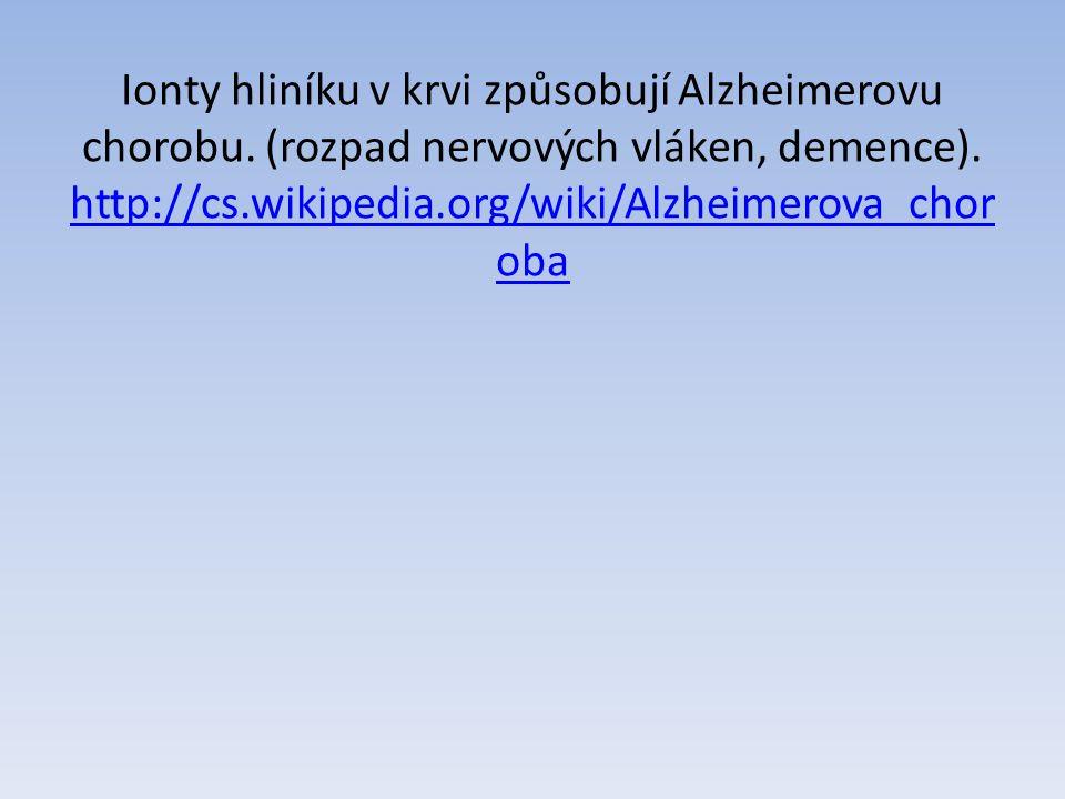 Ionty hliníku v krvi způsobují Alzheimerovu chorobu