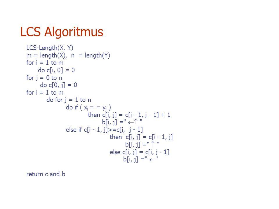 LCS Algoritmus LCS-Length(X, Y) m = length(X), n = length(Y)