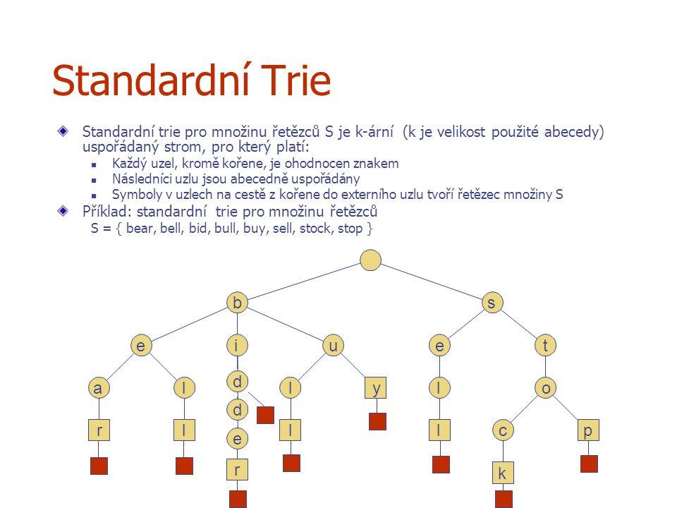 Standardní Trie b s e i u e t r e d d a l l y l o r l l l c p k