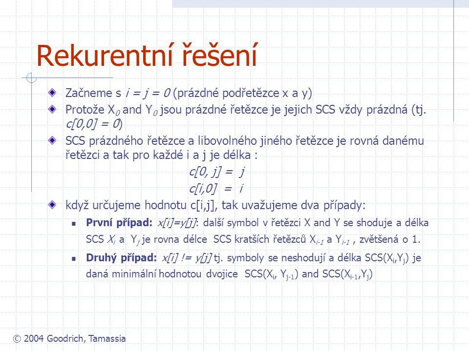 Rekurentní řešení Začneme s i = j = 0 (prázdné podřetězce x a y)
