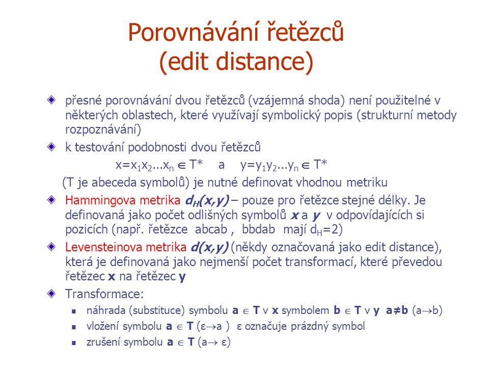 Porovnávání řetězců (edit distance)