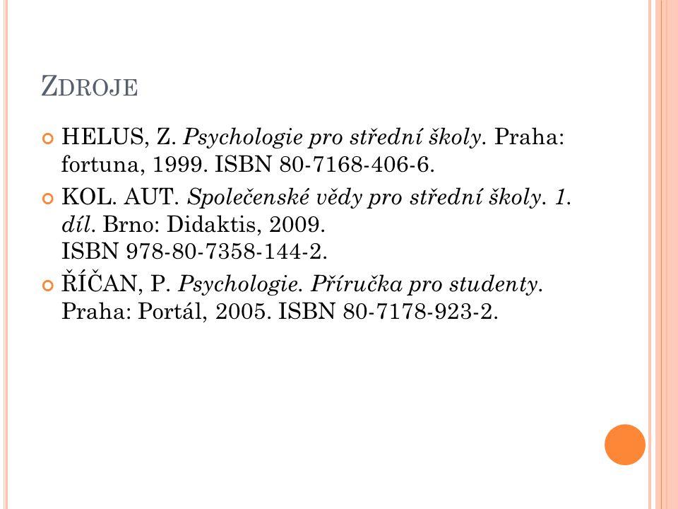 Zdroje HELUS, Z. Psychologie pro střední školy. Praha: fortuna, 1999. ISBN 80-7168-406-6.