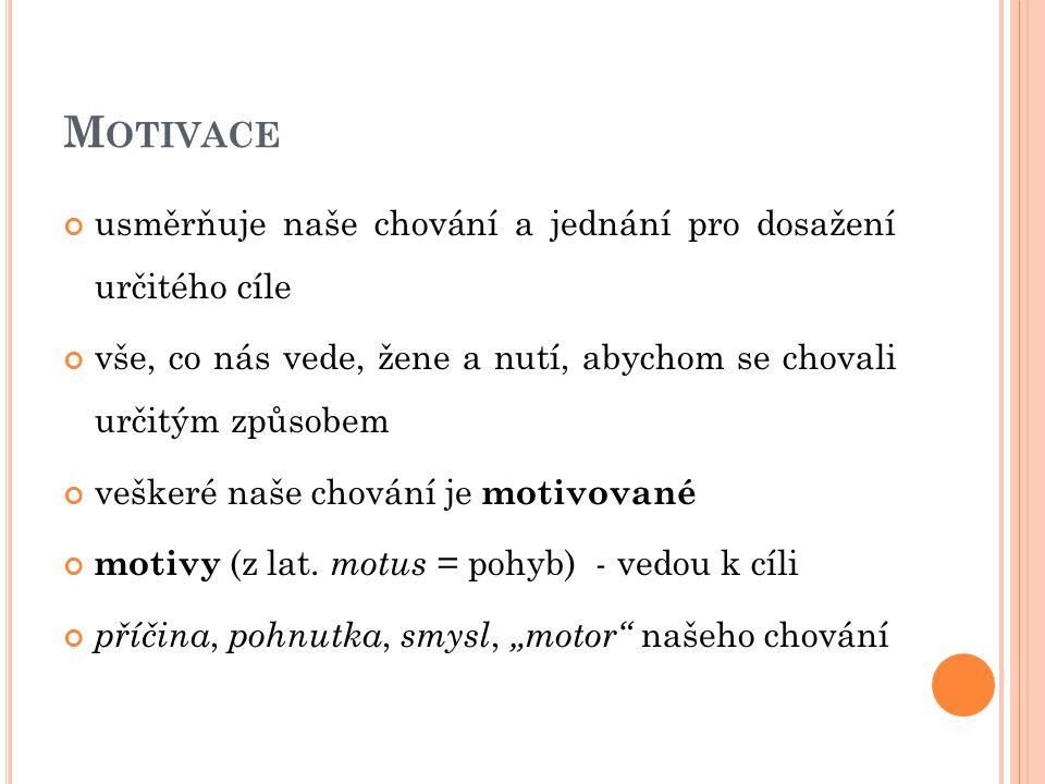 Motivace usměrňuje naše chování a jednání pro dosažení určitého cíle