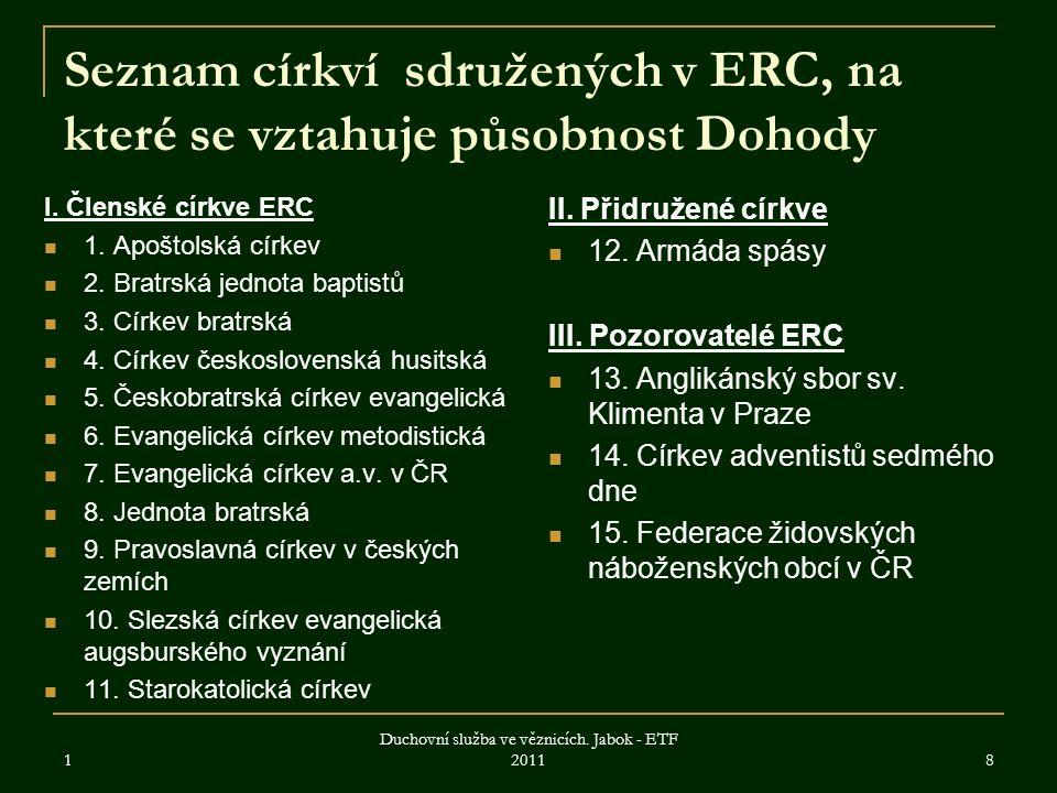 Seznam církví sdružených v ERC, na které se vztahuje působnost Dohody