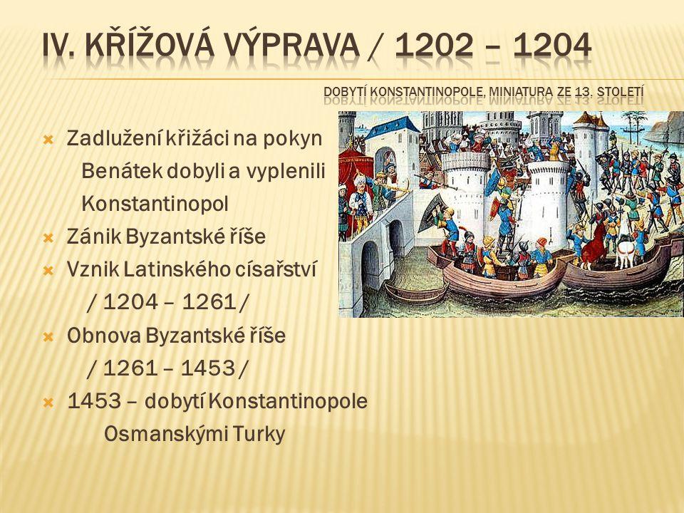 IV. křížová výprava / 1202 – 1204 Dobytí Konstantinopole, miniatura ze 13. století