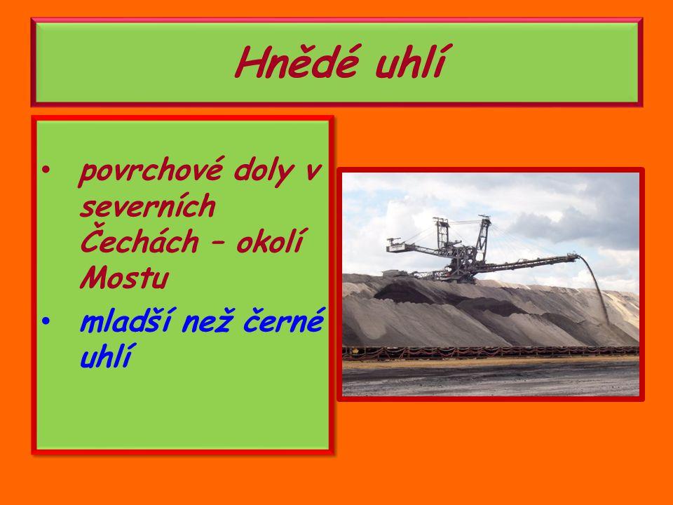 Hnědé uhlí povrchové doly v severních Čechách – okolí Mostu