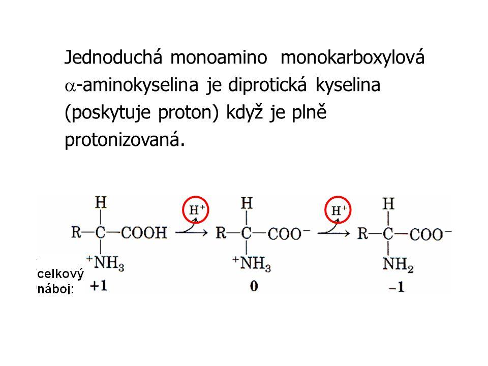 Jednoduchá monoamino monokarboxylová a-aminokyselina je diprotická kyselina (poskytuje proton) když je plně protonizovaná.