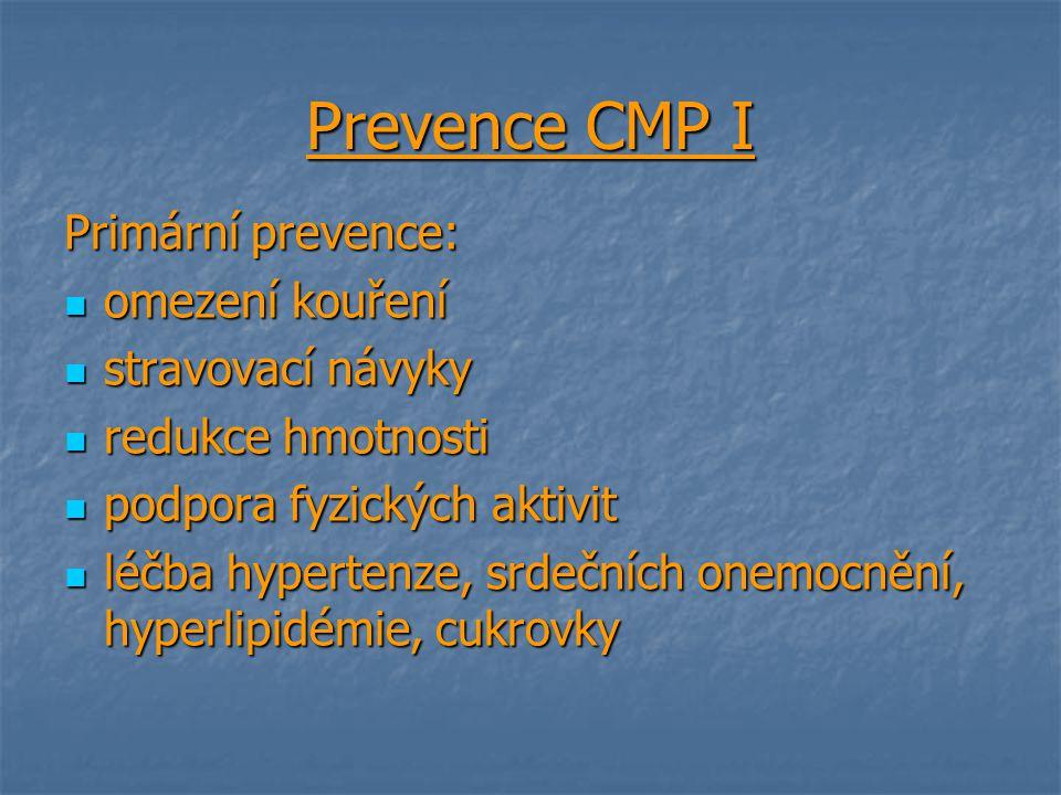 Prevence CMP I Primární prevence: omezení kouření stravovací návyky