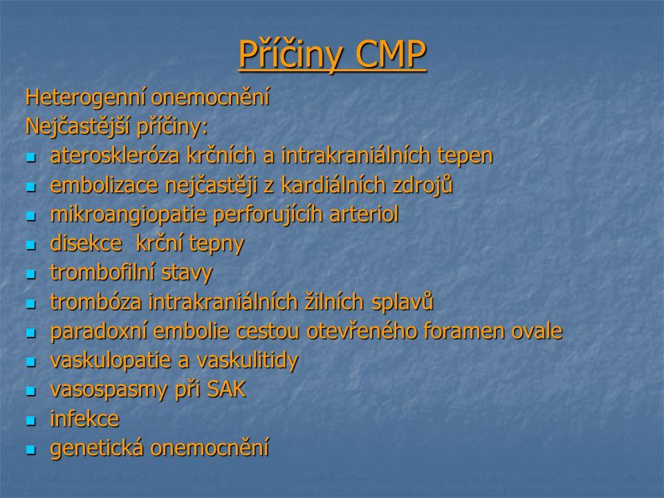 Příčiny CMP Heterogenní onemocnění Nejčastější příčiny: