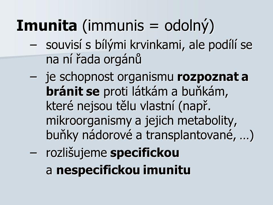 Imunita (immunis = odolný)
