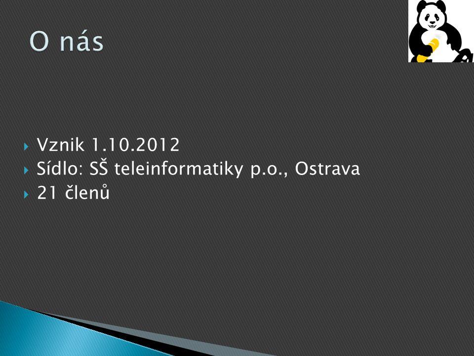 O nás Vznik 1.10.2012 Sídlo: SŠ teleinformatiky p.o., Ostrava 21 členů