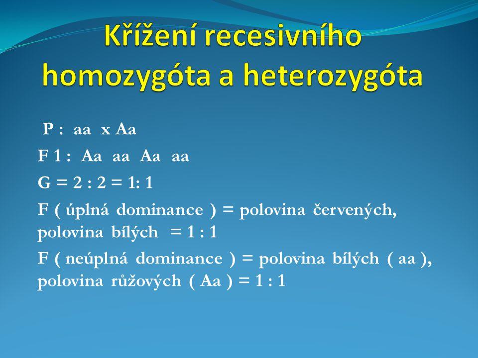 Křížení recesivního homozygóta a heterozygóta