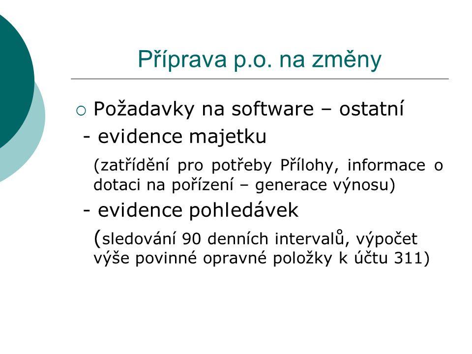 Příprava p.o. na změny Požadavky na software – ostatní