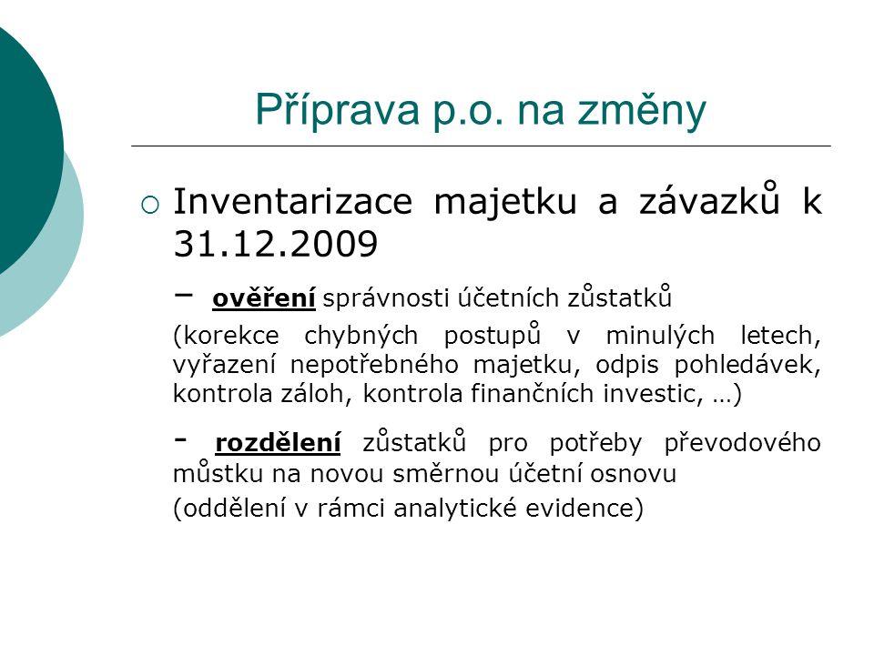 Příprava p.o. na změny Inventarizace majetku a závazků k 31.12.2009