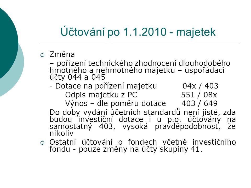 Účtování po 1.1.2010 - majetek Změna