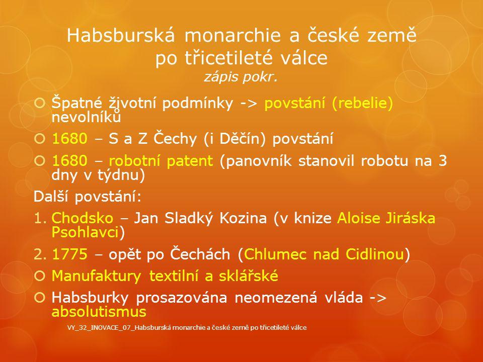 Habsburská monarchie a české země po třicetileté válce zápis pokr.