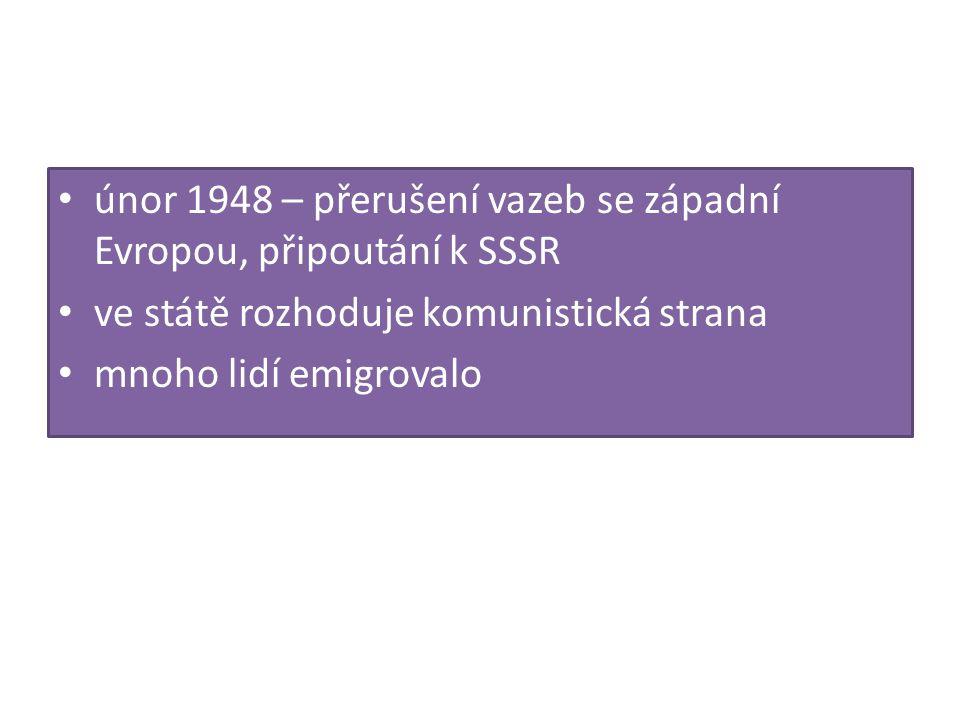 únor 1948 – přerušení vazeb se západní Evropou, připoutání k SSSR