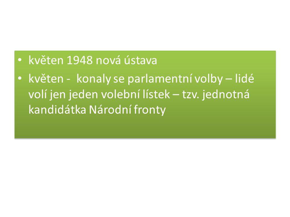 květen 1948 nová ústava květen - konaly se parlamentní volby – lidé volí jen jeden volební lístek – tzv.