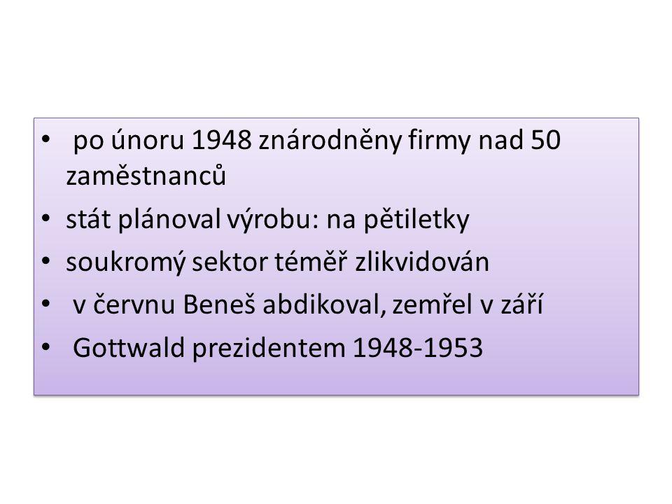po únoru 1948 znárodněny firmy nad 50 zaměstnanců