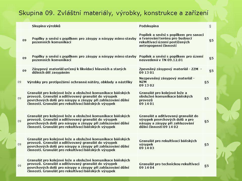 Skupina 09. Zvláštní materiály, výrobky, konstrukce a zařízení