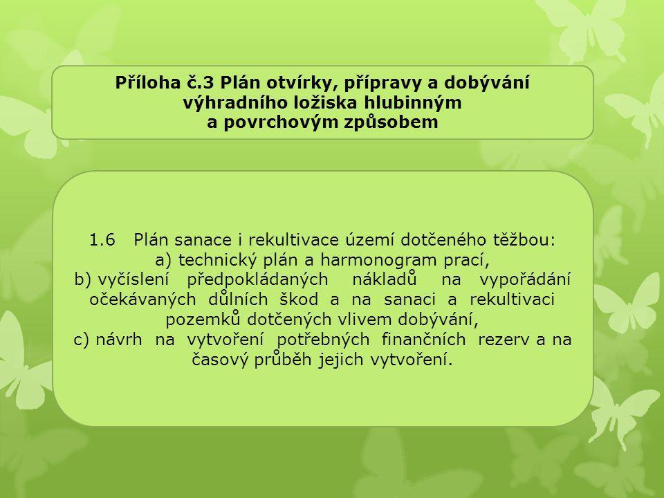 1.6 Plán sanace i rekultivace území dotčeného těžbou: