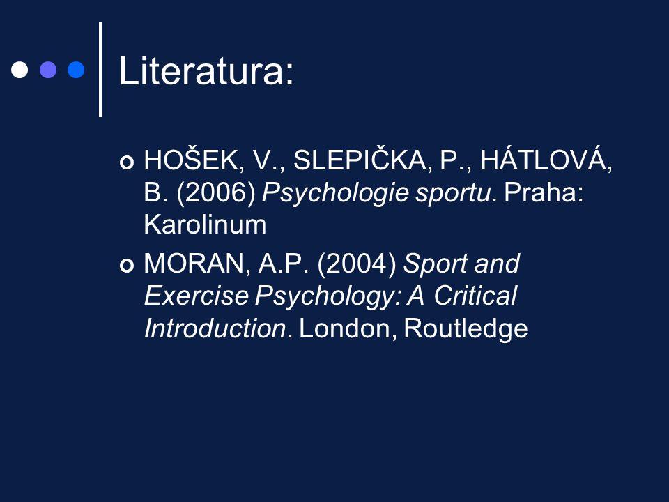 Literatura: HOŠEK, V., SLEPIČKA, P., HÁTLOVÁ, B. (2006) Psychologie sportu. Praha: Karolinum.