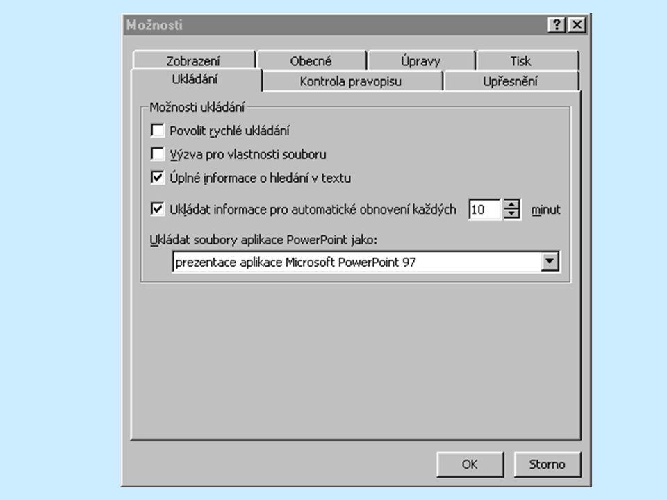 """V PowerPointu lze nastavit automatické ukládání souborů v časově pravidelných nastavitelných intervalech. Ukládá se vždy současný stav každé otevřené prezentace do zvláštního souboru, který PowerPoint použije při svém příštím spuštění, pokud by došlo během práce k """"pádu nebo násilnému ukončení programu, při němž není možno prezentaci uložit. V takovém případě se při příštím spuštění programu všechny prezentace, které byly v onom tragickém okamžiku otevřeny, automaticky otevřou ve stavu, v jakém byly v okamžiku posledního automatického uložení."""