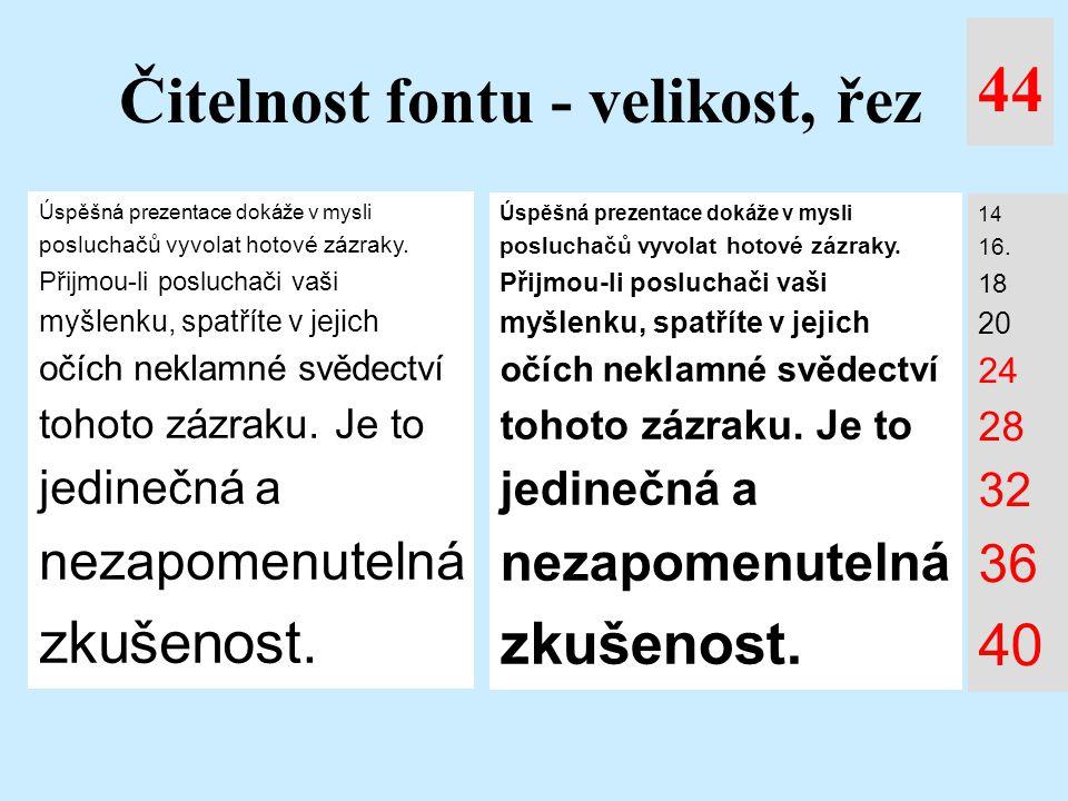 Čitelnost fontu - velikost, řez