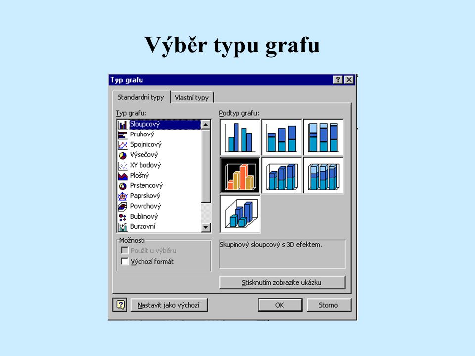 Výběr typu grafu Pracujeme-li s grafem změní se nám položky v nabídkách, některé chybí a nově se objeví nabídka Graf.
