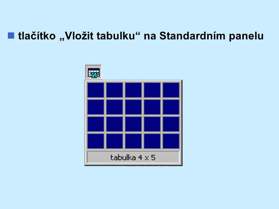 """tlačítko """"Vložit tabulku na Standardním panelu"""