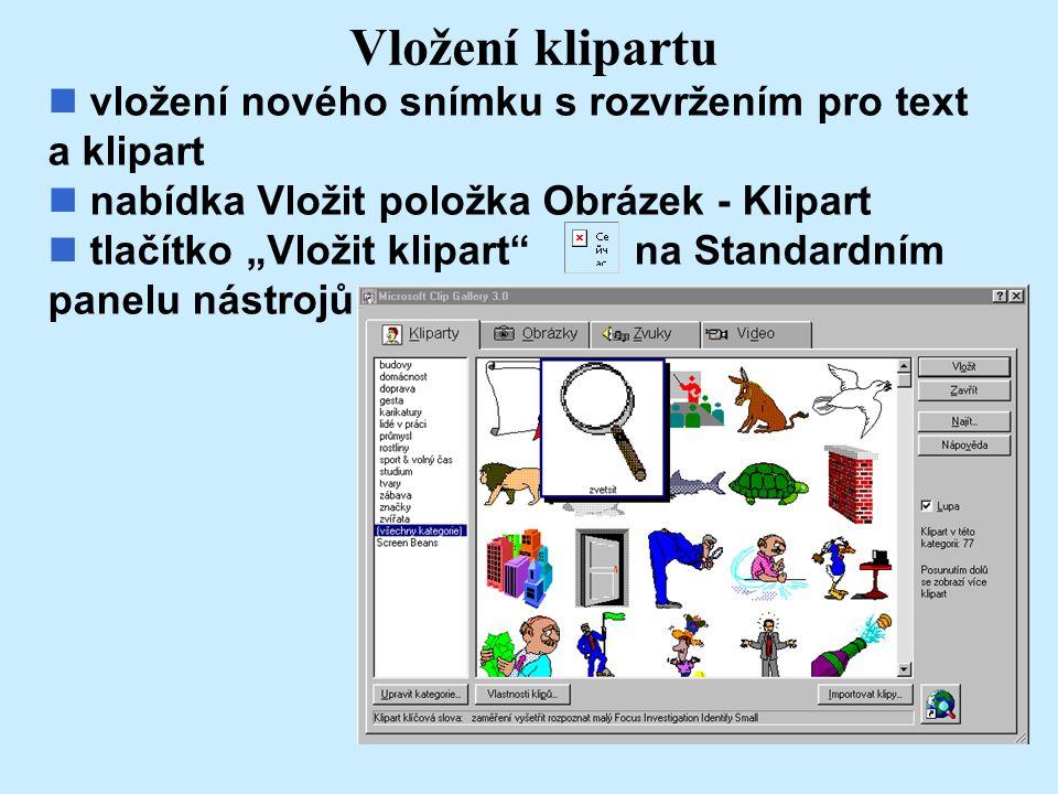 Vložení klipartu vložení nového snímku s rozvržením pro text a klipart