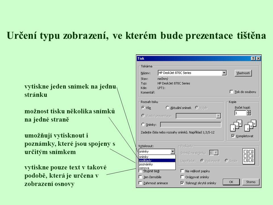 Určení typu zobrazení, ve kterém bude prezentace tištěna