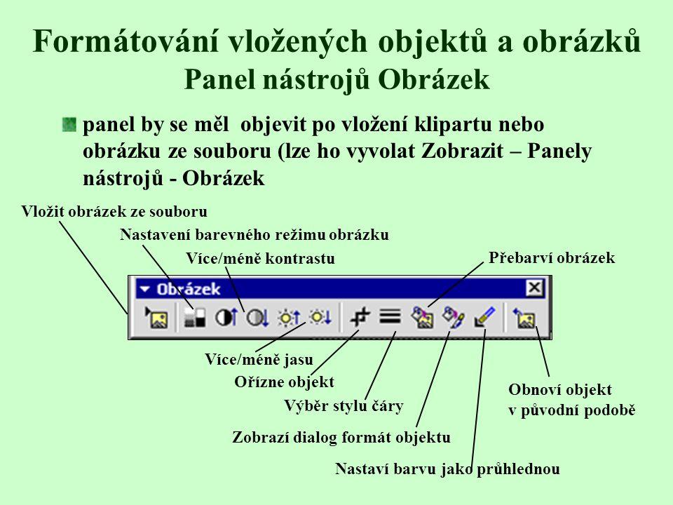 Formátování vložených objektů a obrázků Panel nástrojů Obrázek