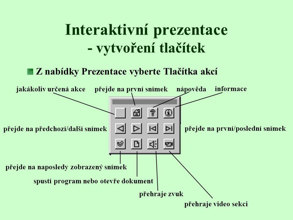 Interaktivní prezentace - vytvoření tlačítek