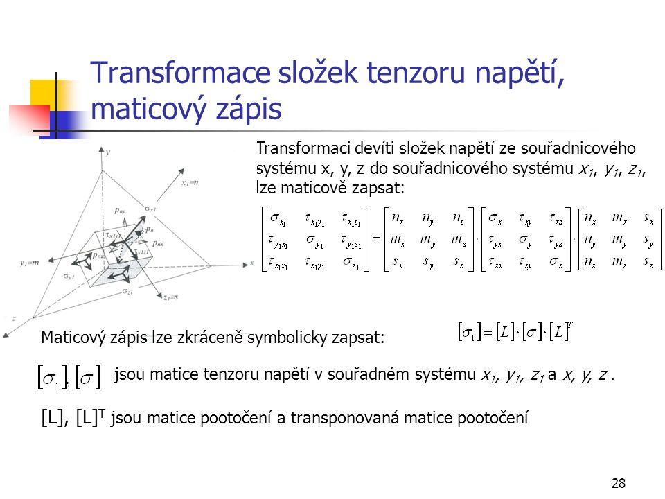 Transformace složek tenzoru napětí, maticový zápis