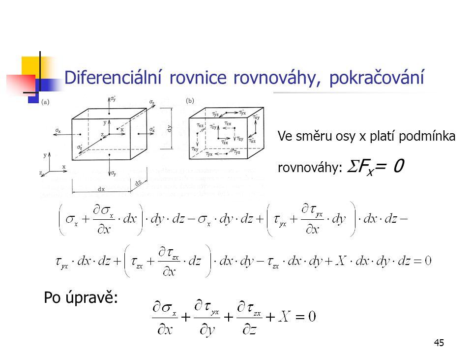 Diferenciální rovnice rovnováhy, pokračování