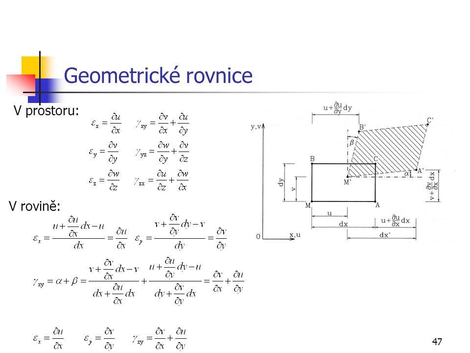 Geometrické rovnice V prostoru: V rovině: