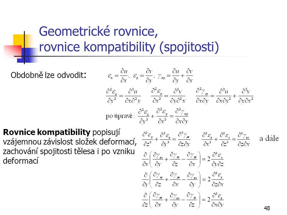 Geometrické rovnice, rovnice kompatibility (spojitosti)