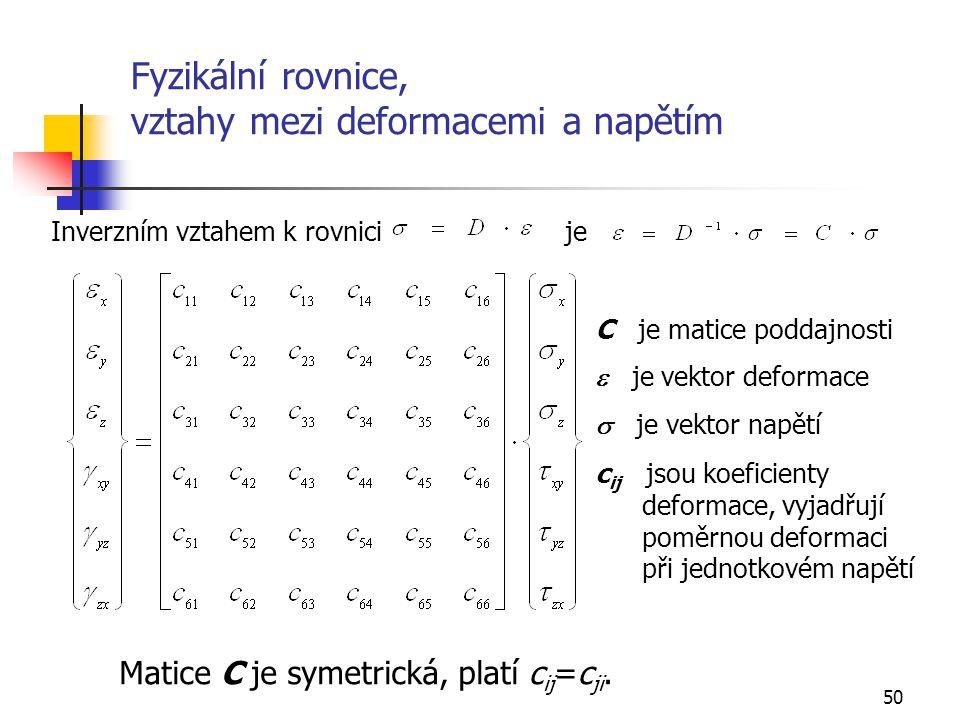 Fyzikální rovnice, vztahy mezi deformacemi a napětím