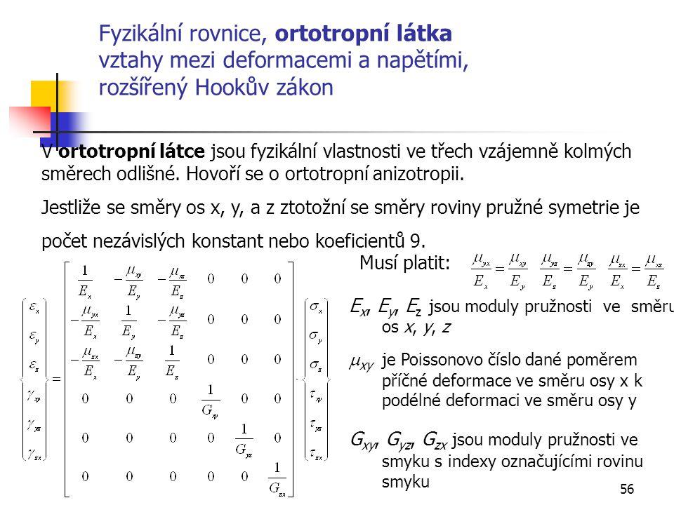 Fyzikální rovnice, ortotropní látka vztahy mezi deformacemi a napětími, rozšířený Hookův zákon