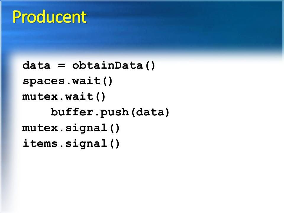 Producent data = obtainData() spaces.wait() mutex.wait()