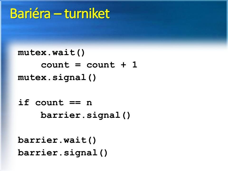 Bariéra – turniket mutex.wait() count = count + 1 mutex.signal()