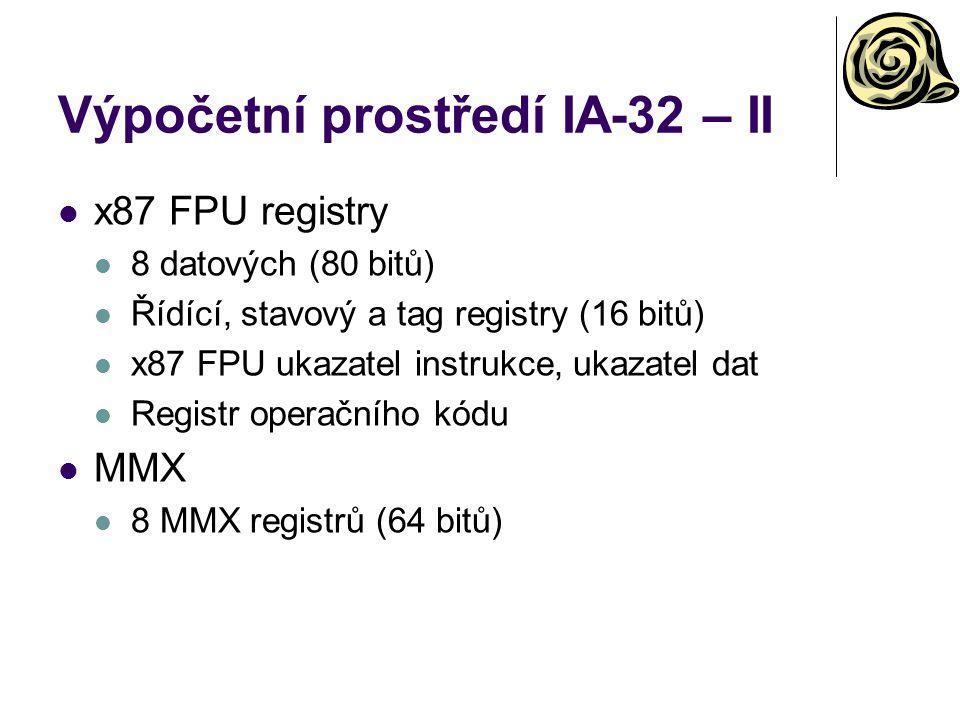 Výpočetní prostředí IA-32 – II