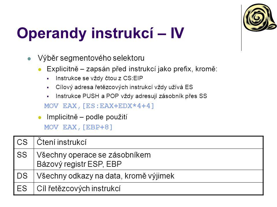 Operandy instrukcí – IV